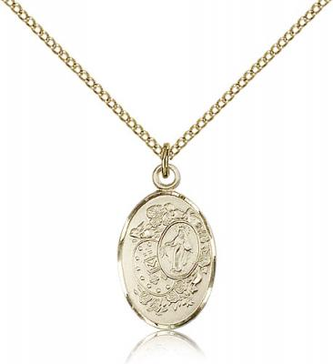 "Gold Filled Miraculous Pendant, Gold Filled Lite Curb Chain, 7/8"" x 1/2"""
