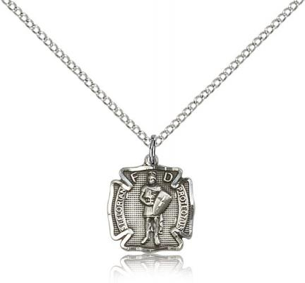 "Sterling Silver St. Florian Pendant, Sterling Silver Lite Curb Chain, 1/2"" x 1/2"""