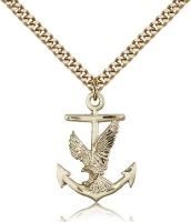 "Gold Filled Anchor / Eagle Pendant, Stainless Gold Heavy Curb Chain, 1"" x 5/8"""