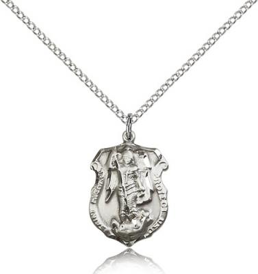 "Sterling Silver St. Michael the Archangel Pendant, Sterling Silver Lite Curb Chain, 3/4"" x 1/2"""