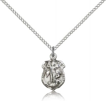 "Sterling Silver St. Michael the Archangel Pendant, Sterling Silver Lite Curb Chain, 5/8"" x 3/8"""