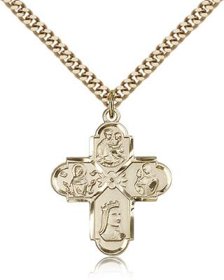 "Gold Filled Franciscan 4-Way Pendant, Stainless Gold Heavy Curb Chain, 1"" x 7/8"""