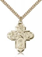 "Gold Filled Franciscan 4-Way Pendant, Stainless Gold Heavy Curb Chain, 1 1/4"" x 1"""