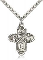 "Sterling Silver Franciscan 4-Way Pendant, Stainless Silver Heavy Curb Chain, 1 1/4"" x 1"""
