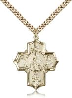"Gold Filled Our Lady of Mount Carmel Pendant, Stainless Gold Heavy Curb Chain, 1 1/4"" x 1"""
