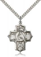 "Sterling Silver Our Lady of Mount Carmel Pendant, Stainless Silver Heavy Curb Chain, 1 1/4"" x 1"""