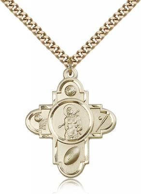 "Gold Filled St. Sebastian Pendant, Stainless Gold Heavy Curb Chain, 1 1/4"" x 1"""