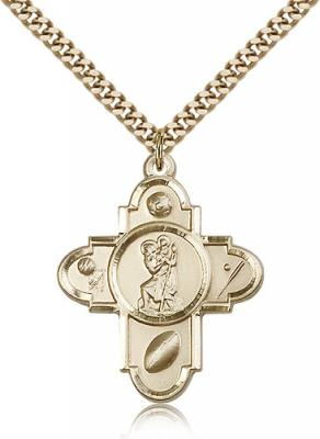 "Gold Filled St. Christopher Pendant, Stainless Gold Heavy Curb Chain, 1 1/4"" x 1"""