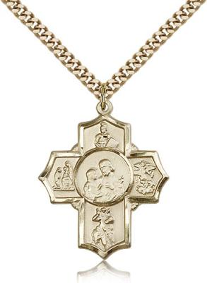 "Gold Filled 5-Way Firefighter Pendant, Stainless Gold Heavy Curb Chain, 1 1/4"" x 1"""