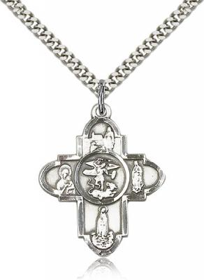 "Sterling Silver Our Lady 5-Way Pendant, Stainless Silver Heavy Curb Chain, 1 1/4"" x 1"""