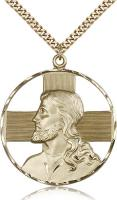 "Gold Filled St. Christopher Pendant, Stainless Gold Heavy Curb Chain, 1 5/8"" x 1 1/2"""