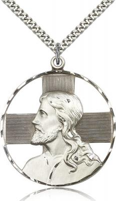 "Sterling Silver St. Christopher Pendant, Stainless Silver Heavy Curb Chain, 1 5/8"" x 1 1/2"""