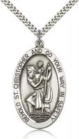 "Sterling Silver St. Christopher Pendant, Stainless Silver Heavy Curb Chain, 1 5/8"" x 1"""