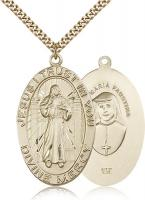 "Gold Filled Divine Mercy Pendant, Stainless Gold Heavy Curb Chain, 1 5/8"" x 1"""