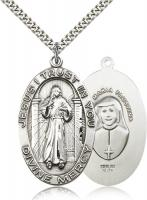 "Sterling Silver Divine Mercy Pendant, Stainless Silver Heavy Curb Chain, 1 5/8"" x 1"""