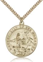 "Gold Filled St. Kateri Pendant, Stainless Gold Heavy Curb Chain, 1 1/4"" x 1 1/8"""