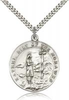 "Sterling Silver St. Kateri Pendant, Stainless Silver Heavy Curb Chain, 1 1/4"" x 1 1/8"""