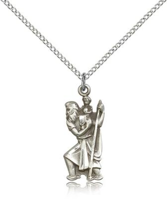 "Sterling Silver St. Christopher Pendant, Sterling Silver Lite Curb Chain, 7/8"" x 3/8"""