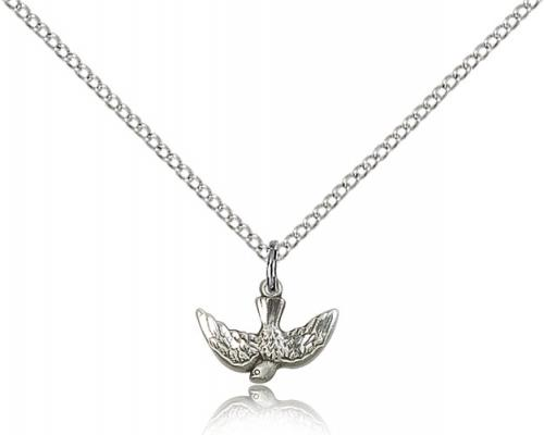 "Sterling Silver Holy Spirit Pendant, Sterling Silver Lite Curb Chain, 3/8"" x 1/2"""