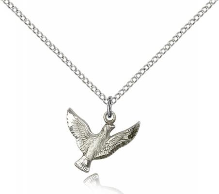 "Sterling Silver Holy Spirit Pendant, Sterling Silver Lite Curb Chain, 1/2"" x 5/8"""