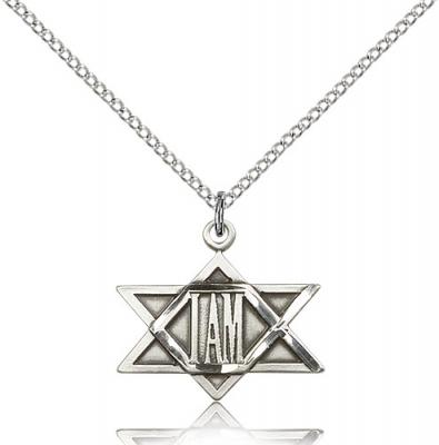 "Sterling Silver I Am Star Pendant, Sterling Silver Lite Curb Chain, 3/4"" x 3/4"""
