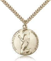 "Gold Filled St. Bernadette Pendant, Stainless Gold Heavy Curb Chain, 1"" x 7/8"""