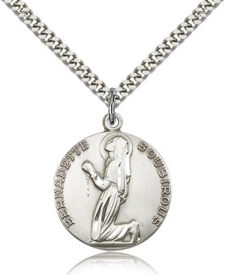 "Sterling Silver St. Bernadette Pendant, Stainless Silver Heavy Curb Chain, 1"" x 7/8"""