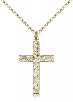 "Gold Filled Cross Pendant, Gold Filled Lite Curb Chain, 1 1/4"" x 3/4"""