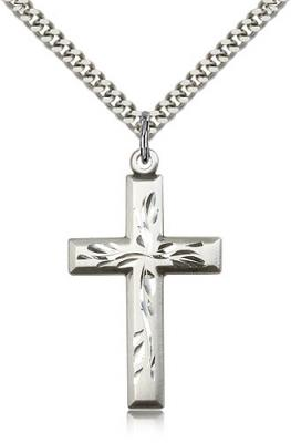 "Sterling Silver Cross Pendant, Stainless Silver Heavy Curb Chain, 1 3/8"" x 3/4"""