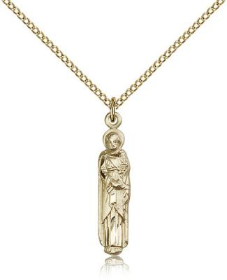 "Gold Filled St. Joseph Pendant, Gold Filled Lite Curb Chain, 1"" x 1/8"""
