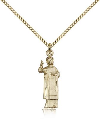 "Gold Filled St. Florian Pendant, Gold Filled Lite Curb Chain, 1"" x 1/4"""