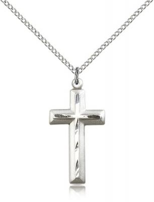 "Sterling Silver Cross Pendant, Sterling Silver Lite Curb Chain, 1 1/8"" x 1/2"""
