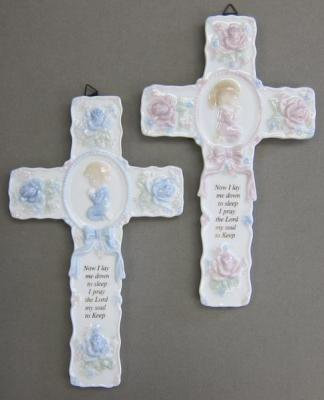 Boy's or Girl's Ceramic Bedtime Prayer Wall Cross