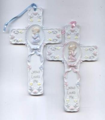 Jesus Loves Me Ceramic Wall Cross