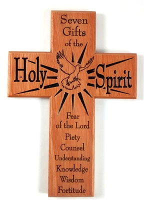 Mahogany Wood Seven Gifts of the Holy Spirit Cross CXG1156SG