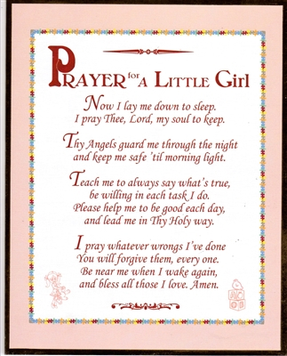 Prayer For A Little Girl Wall Plaque N2136-2