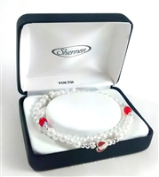 White Red Bead Madonna Stretch Bracelet #MM2911