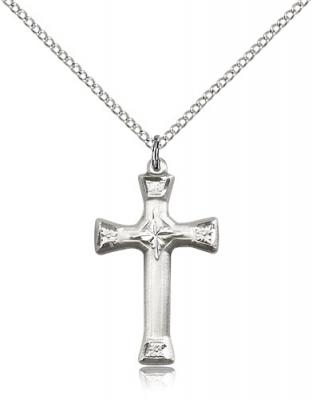 "Sterling Silver Cross Pendant, Sterling Silver Lite Curb Chain, 1"" x 5/8"""
