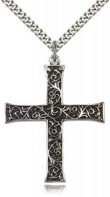 "Sterling Silver Cross Pendant, Stainless Silver Heavy Curb Chain, 1 5/8"" x 1 1/4"""