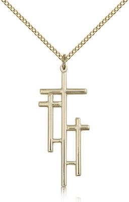 "Gold Filled Cross Pendant, Gold Filled Lite Curb Chain, 1 3/8"" x 1/2"""