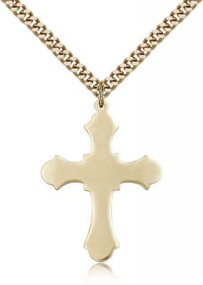 "Gold Filled Cross Pendant, Stainless Gold Heavy Curb Chain, 1 1/4"" x 7/8"""