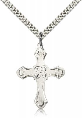 "Sterling Silver Cross Pendant, Stainless Silver Heavy Curb Chain, 1 1/4"" x 7/8"""