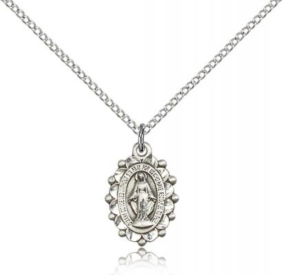 "Sterling Silver Miraculous Pendant, Sterling Silver Lite Curb Chain, 5/8"" x 3/8"""