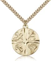 "Gold Filled Christian Life Pendant, Stainless Gold Heavy Curb Chain, 1"" x 7/8"""