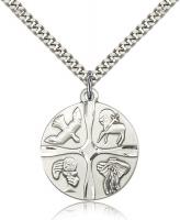 "Sterling Silver Christian Life Pendant, Stainless Silver Heavy Curb Chain, 1"" x 7/8"""