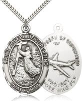 "Sterling Silver St. Joseph of Cupertino Pendant, Stainless Silver Heavy Curb Chain, 1 7/8"" x 1 1/4"""
