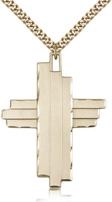 "Gold Filled Cross Pendant, Stainless Gold Heavy Curb Chain, 1 3/4"" x 1 1/4"""