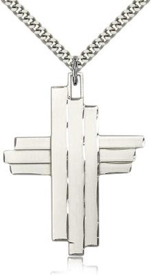 "Sterling Silver Cross Pendant, Stainless Silver Heavy Curb Chain, 1 3/4"" x 1 1/4"""
