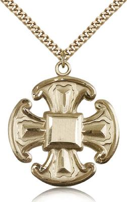 "Gold Filled Cross Pendant, Stainless Gold Heavy Curb Chain, 1 1/2"" x 1 1/4"""