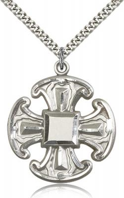 "Sterling Silver Cross Pendant, Stainless Silver Heavy Curb Chain, 1 1/2"" x 1 1/4"""